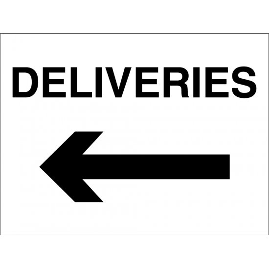 Deliveries Arrow Left Signs