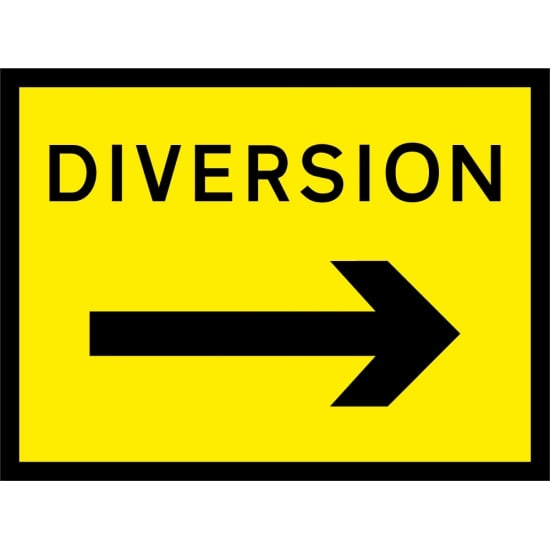 Diversion Arrow Right Signs