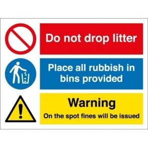 Do Not Drop Litter Use Bins Signs