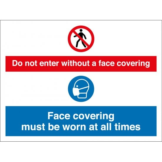 Do Not Enter Without A Face Covering Signs