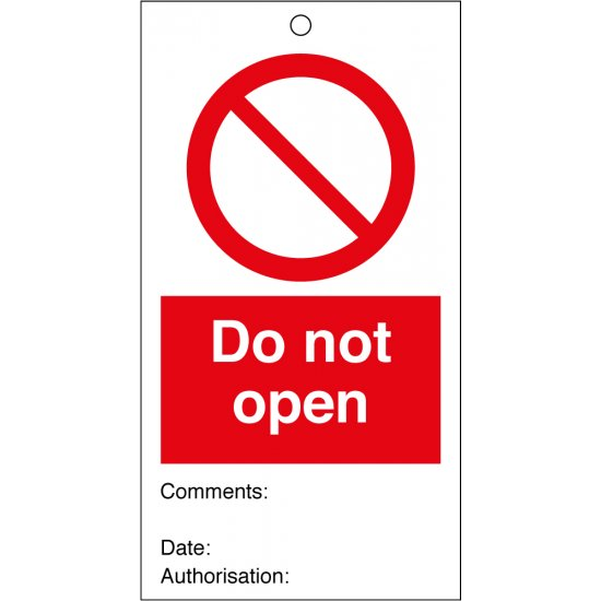 Do Not Open Safety Tags 80mm x 150mm Pack of 10