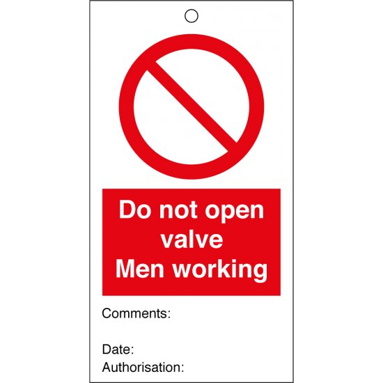 Do Not Open Valve Men Working Safety Tags 80mm x 150mm Pack of 10