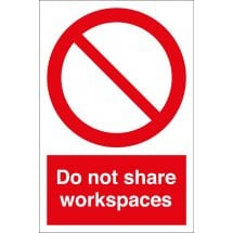 Do Not Share Workspaces Safety Signs