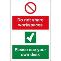 Do Not Share Workspaces Use Own Desk Signs