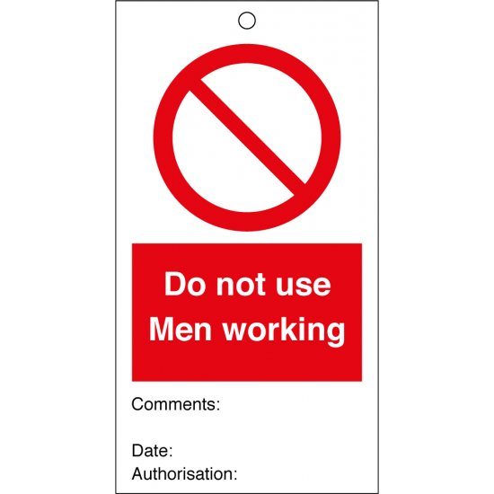 Do Not Use Men Working Safety Tags 80mm x 150mm Pack of 10