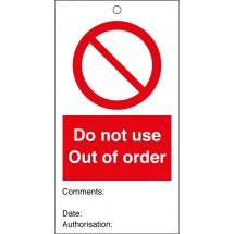 Do Not Use Out Of Order Safety Tags 80mm x 150mm Pack of 10
