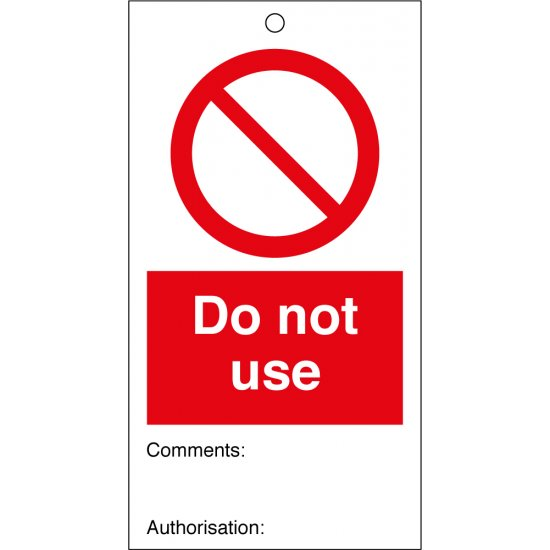 Do Not Use Safety Tags 80mm x 150mm Pack of 10