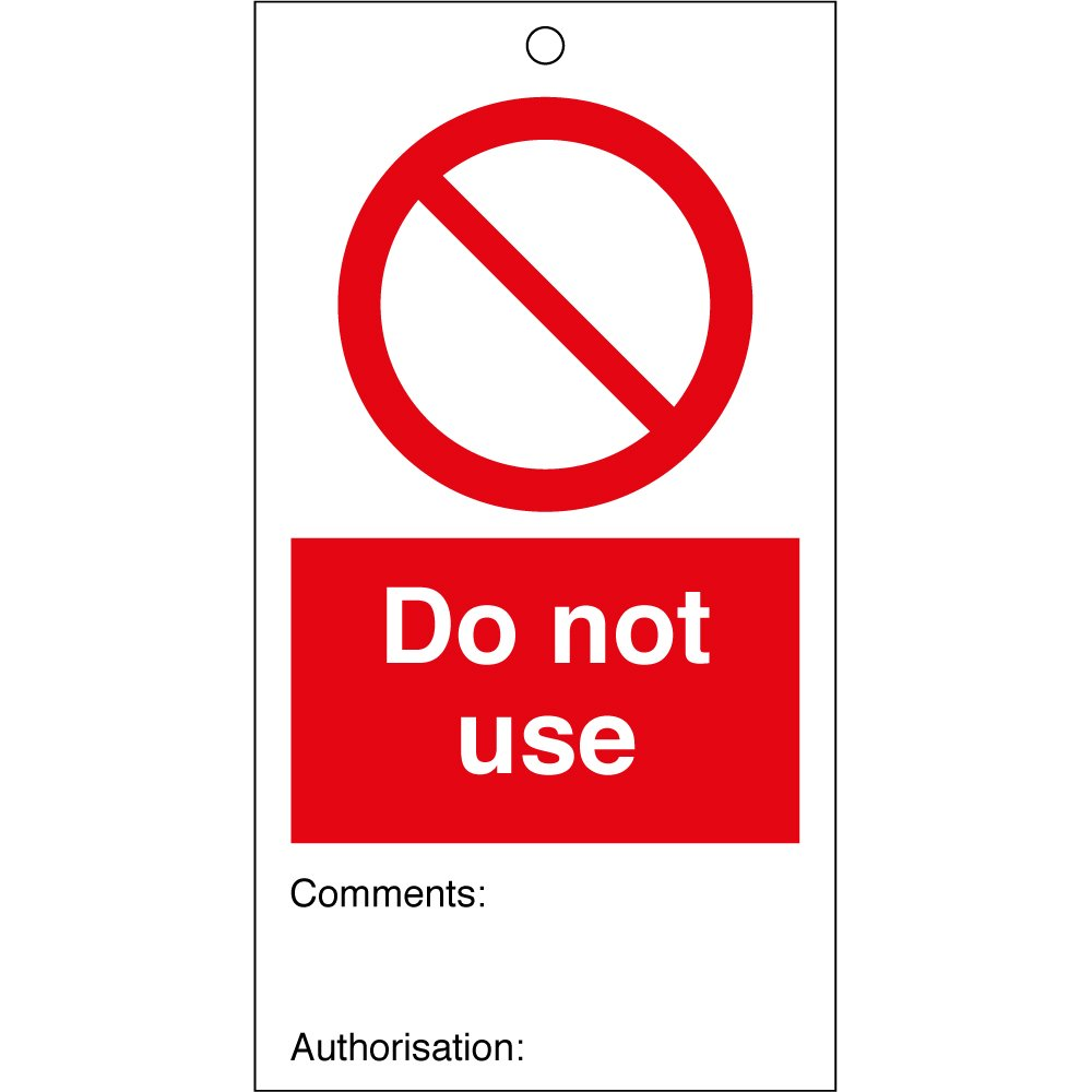 Do Not Use Safety Tags 80mm X 150mm Pack Of 10 From Key