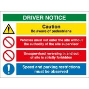 Driver Notice Be Aware Of Pedestrians Signs
