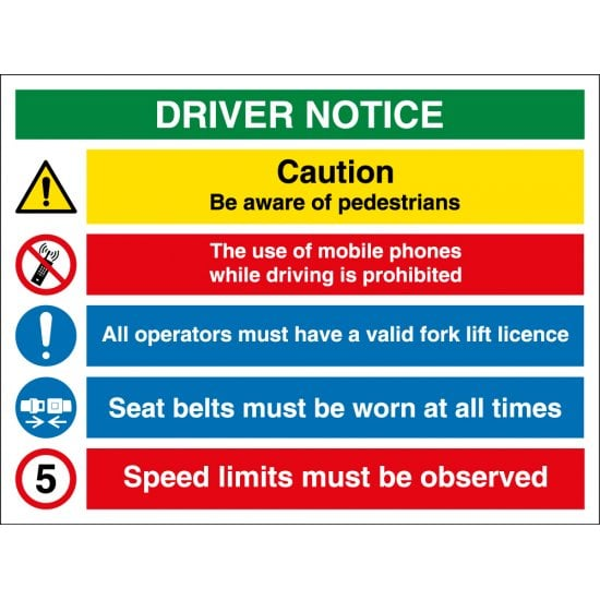 Driver Notice Multi Message Safety Sign