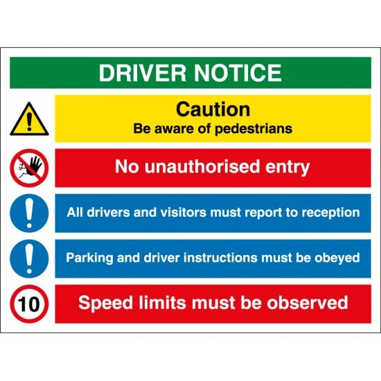 Driver Notice Safety Signs