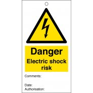 Electric Shock Risk Safety Tags 80mm x 150mm Pack of 10