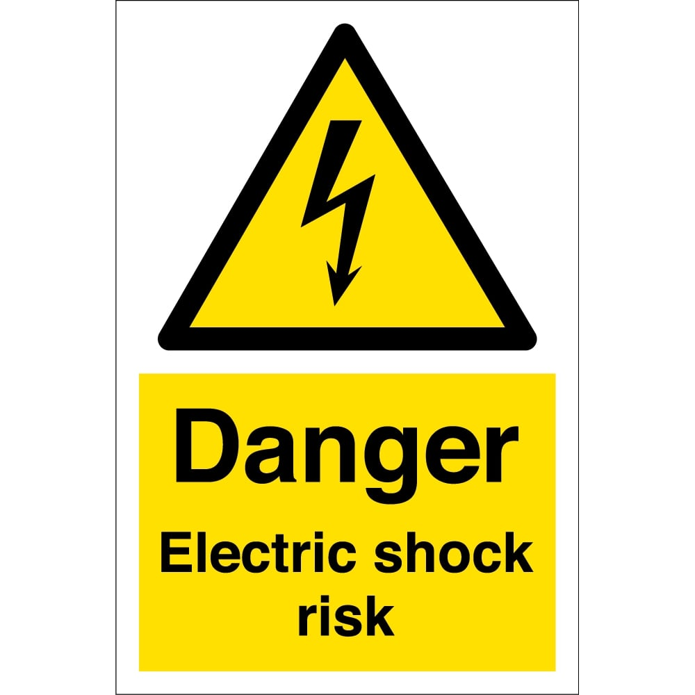 Electrical Safety Signs : Electric shock risk signs from key uk