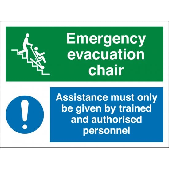 Emergency Evacuation Chair Assistance Signs