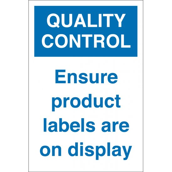 Ensure Product Labels Are On Display Signs