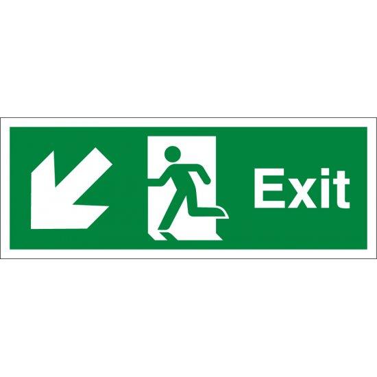 Exit Arrow Down Left Signs