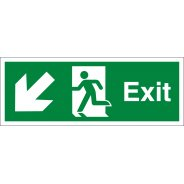 Exit Arrow Down Left Signs