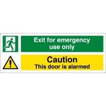 Exit For Emergency Use Only Door Alarmed Signs