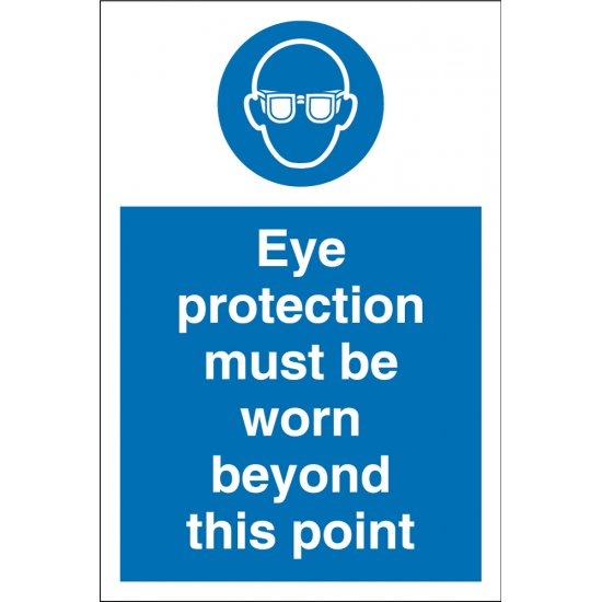 Eye Protection Must Be Worn Beyond This Point Signs