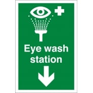 Eye Wash Station Arrow Down Signs