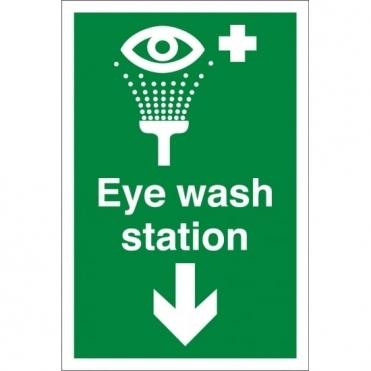 Eye Wash Station Arrow Down Signs