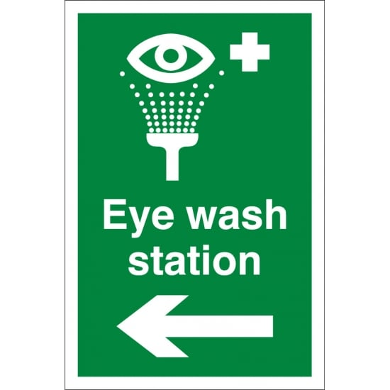 Eye Wash Station Arrow Left Signs