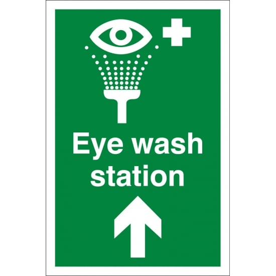 Eye Wash Station Arrow Up Signs