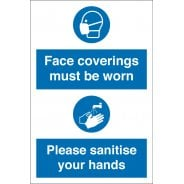 Face Coverings Must Be Worn Sanitise Your Hands Signs