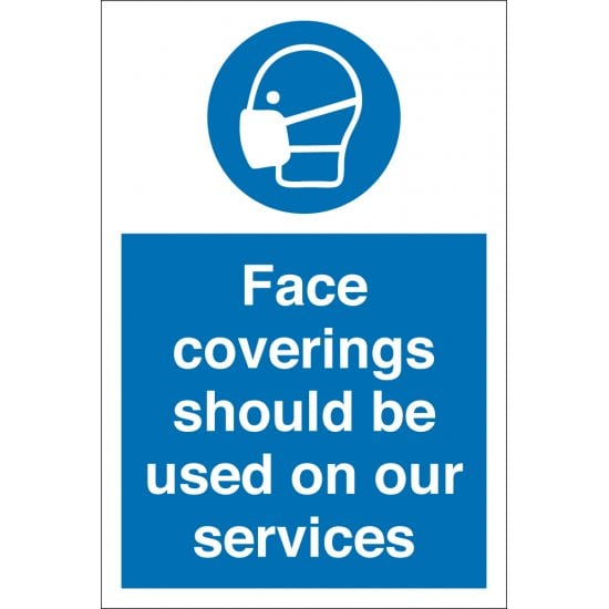 Face Coverings Should Be Used On Our Services Signs