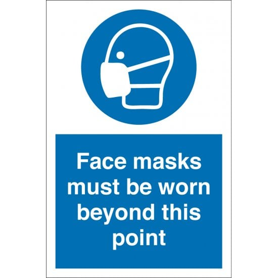 Face Masks Must Be Worn Beyond This Point Signs