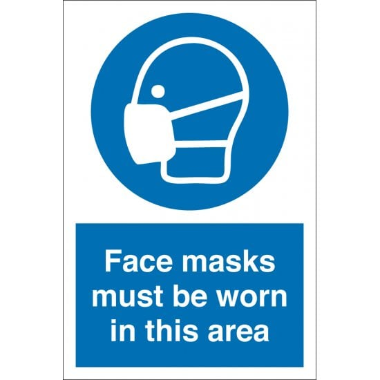 Face Masks Must Be Worn In This Area Signs