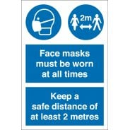 Face Masks Must Be Worn Keep Distance Signs