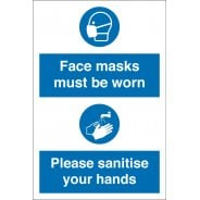 Face Masks Must Be Worn Sanitise Your Hands Signs