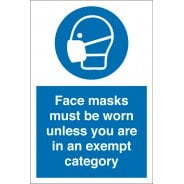 Face Masks Must Be Worn Unless Exempt Signs