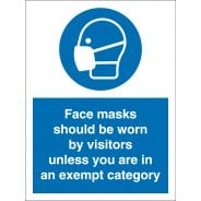 Face Masks Should Be Worn By Visitors Unless Exempt Signs