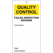 Failed Inspection Rework Quality Control Tags 80mm x 150mm Pack of 10