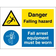 Falling Hazard Wear Fall Arrest Equipment Signs