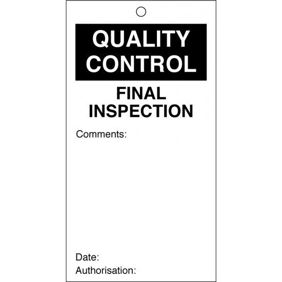 Final Inspection Quality Control Tags 80mm x 150mm Pack of 10