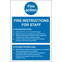 Fire Action Notice For Staff Signs