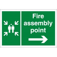 Fire Assembly Point Arrow Right Signs