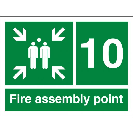 Fire Assembly Point Number 10 Signs