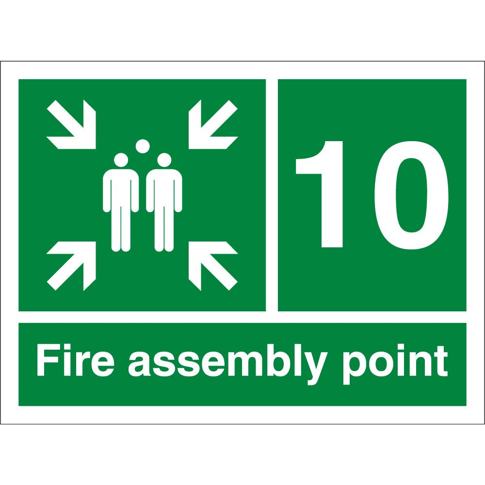 fire assembly point number 10 signs from key signs uk. Black Bedroom Furniture Sets. Home Design Ideas