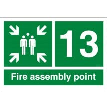Fire Assembly Point Number 13 Signs