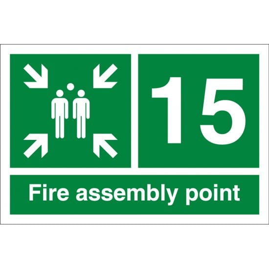 Fire Assembly Point Number 15 Signs