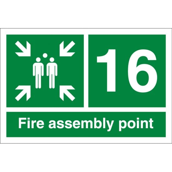 Fire Assembly Point Number 16 Signs