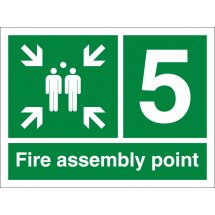 Fire Assembly Point Number 5 Signs