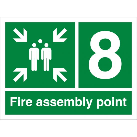 Fire Assembly Point Number 8 Signs