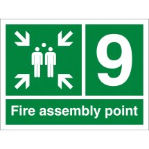 Fire Assembly Point Number 9 Signs