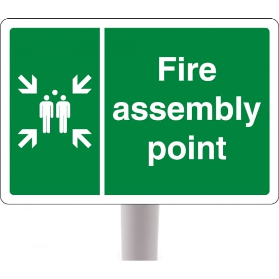 Fire Assembly Point Signs On Posts