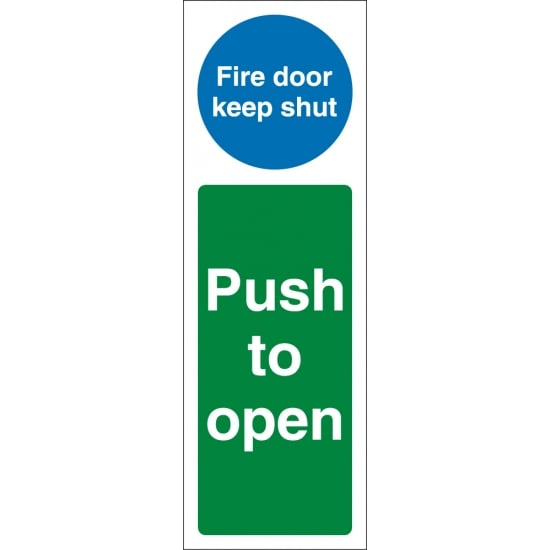 Fire Door Keep Shut Push To Open Signs